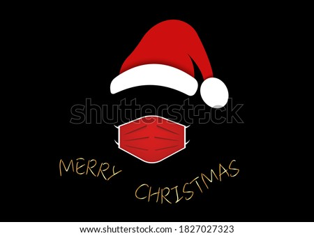 Santa Claus head label with surgical mask and red hat. Gold Merry Christmas, Santa Claus logo design for coronavirus protection, caution wear mask, vector isolated on black background