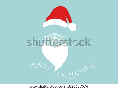 Santa Claus head label with surgical mask, hat, beard and mustache. Merry Christmas Santa Claus logo design coronavirus protection, vector isolated on blue background