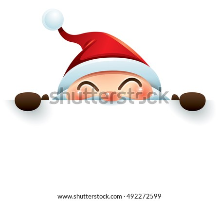 santa claus hides behind the