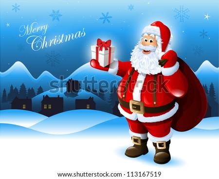Santa Claus holding a gift box greeting card design