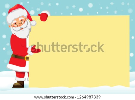 06a7e77dcc548 Santa Claus holding banner. Christmas blank advertising banner. Happy New  Year background. Santa
