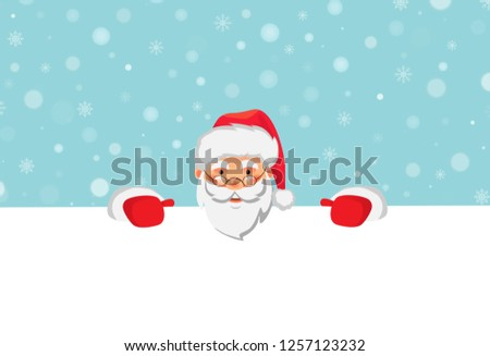 62d20a3677e1d Santa Claus holding big banner. Christmas blank advertising banner. Happy  New Year background.
