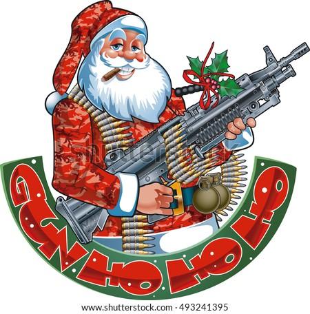 santa claus holding machine gun