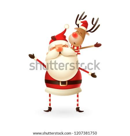 santa claus holding reindeer on