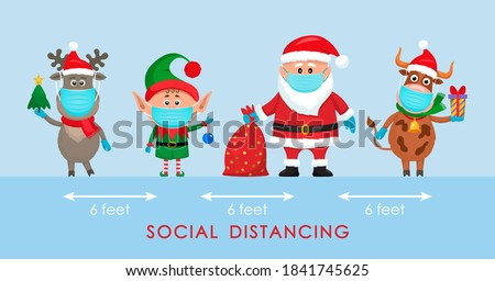 Santa Claus in a hat with a bag of gifts, an elf and a polar deer in a red scarf and a bull with a gift in a cartoon style. social distancing concept due to covid 19. stay home for winter vacation.