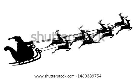 Santa Claus in a sleigh. Reindeer and sleigh. Merry Christmas.