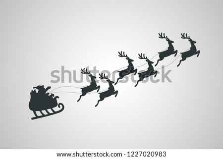 Santa Claus in a sleigh. Reindeer and sleigh. Merry Christmas. Vector illustration.