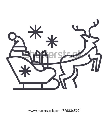 Santa Claus in a sleigh with a deer vector line icon. Merry christmas sign. Santa Claus with gift illustration on background, Flying christmas sleigh symbol with editable strokes