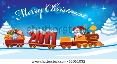 Santa Claus in a toy train with gifts and New Year 2011.