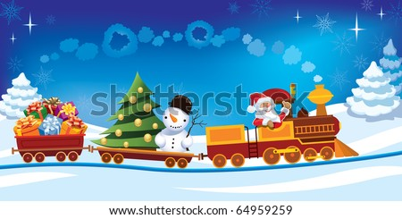 Santa Claus in a toy train with gifts, snowman and christmas tree.