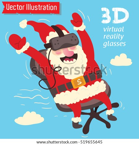 Santa Claus in 3D VR virtual reality glasses. The graphics for advertising, sales techniques, Christmas promotion. Vector illustration.