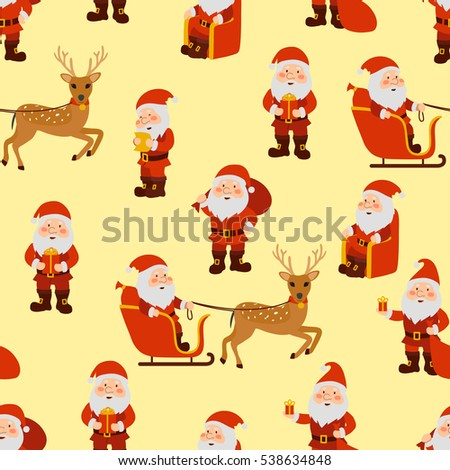 Santa Claus in different poses seamless pattern. Vector illustration.