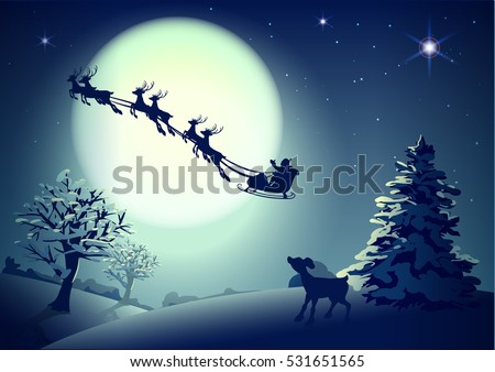 Santa Claus in sleigh and reindeer sled on background of full moon in night sky Christmas. Vector illustration for greeting card Foto stock ©