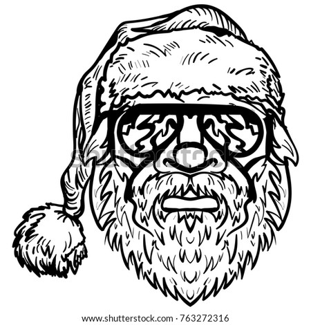 Santa Claus In Sunglasses Christmas Symbol Hand Drawn Vector