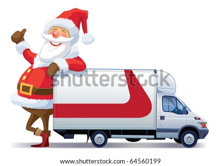 Santa Claus is advertising with christmas delivery truck