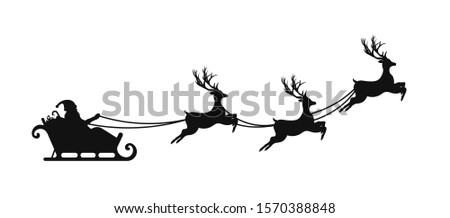 Santa Claus is flying in sleigh with Christmas reindeer. Silhouette of Santa Claus, sleigh with Christmas presents and reindeer. Vector