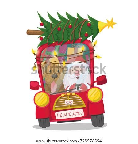 santa claus is riding a red car