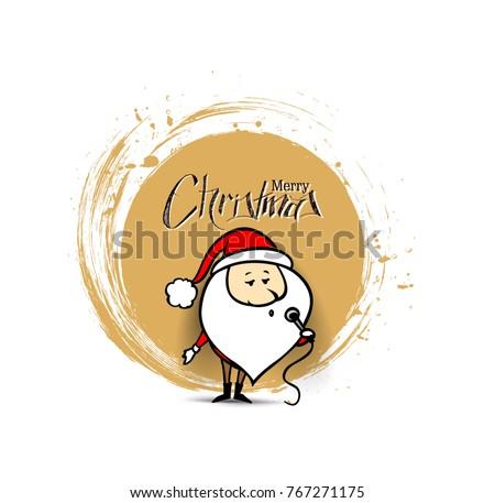 Santa Claus is singing Christmas songs, vector background.