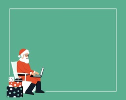 Santa Claus is sitting among gifts and writes a letter on a laptop. Frame with Santa Claus with laptop. Santa Claus email concept. Merry Christmas. Flat vector illustration.
