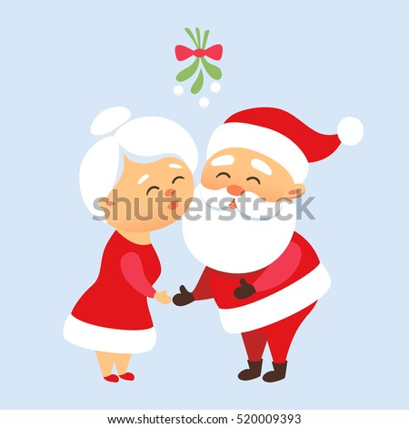 santa claus kiss his wife mrs