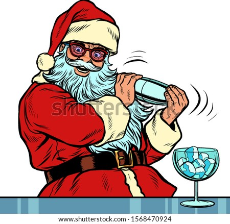 Santa Claus makes Christmas cocktail with ice for new year party. Santa Claus character merry Christmas and happy new year. Pop art retro vector illustration vintage kitsch drawing 50s 60s