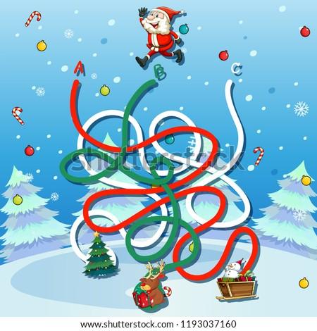 stock-vector-santa-claus-maze-game-template-illustration