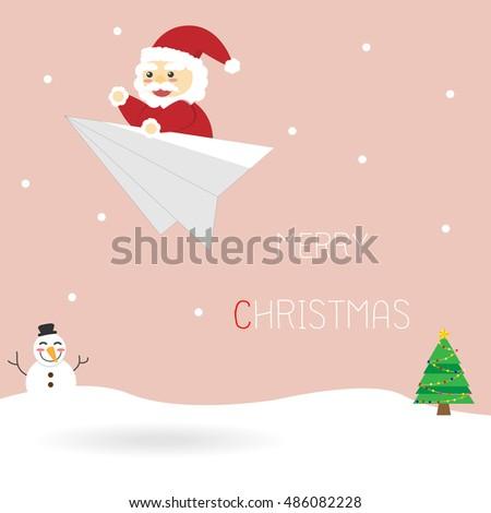 Santa Claus on a paper rocket