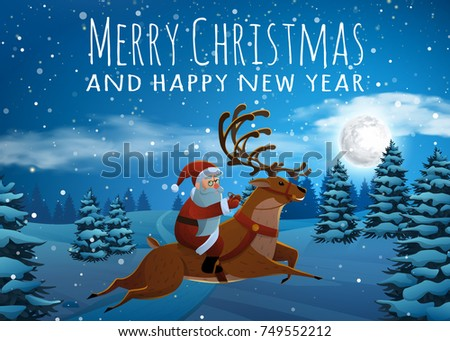 Santa Claus on deer riding on sleigh with reindeers by snow. Christmas Landscape Fir Tree at Night and Big Moon. Concept for Greeting or Postal Card. Background Vector Illustration in Cartoon Style.