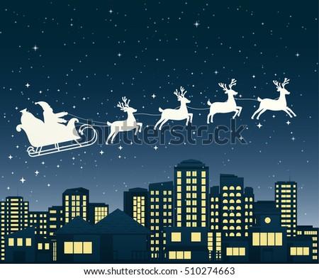 santa claus on sledge flies