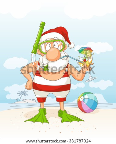 santa claus on summer holiday