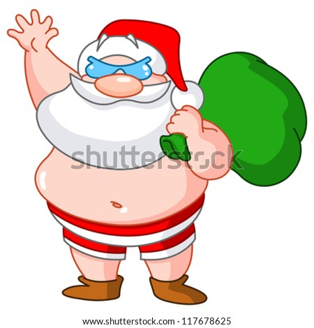 Santa Claus on the beach wearing swimsuit and carrying sack of presents