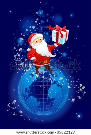 Santa Claus on the planet Earth - stock vector