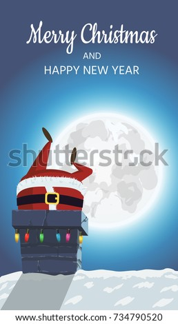 Santa Claus on the roof. Goes down the stairs to the chimney with gifts. A winter festive poster design