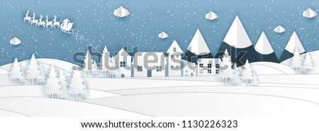 Santa Claus on the sky in panorama, paper origami style vector illustration.
