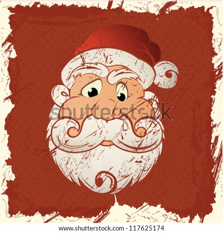 Santa Claus on vintage background, Merry Christmas postcard in Retro style - vector illustration