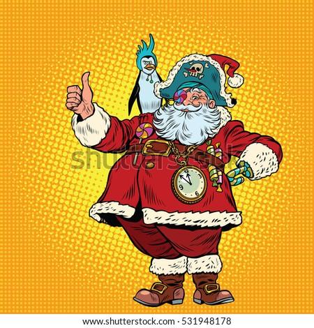 Stock Photo Santa Claus pirate thumb up