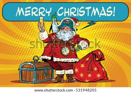 Stock Photo Santa Claus pirate wishes merry Christmas