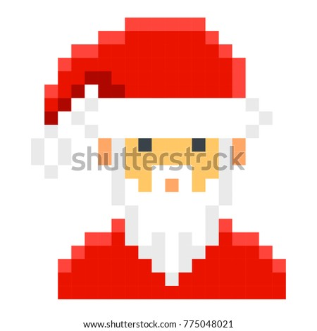 Santa claus pixel art cartoon retro game style