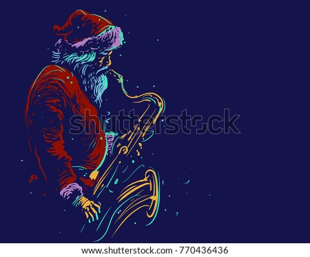 Santa Claus plays the saxophone. Christmas musical poster. Vector illustration