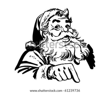Santa Claus Pointing - Retro Clip Art