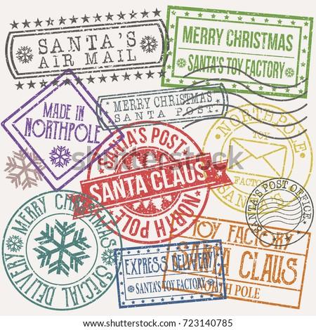 santa claus post stamp merry