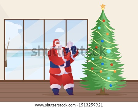 Santa Claus present flat vector illustration. Traditional Xmas symbol character in red costume holding wrapped gift. Winter season festivities in modern apartment, hall with decorated Christmas tree