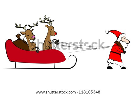 Santa Claus pulling the Christmas sleigh
