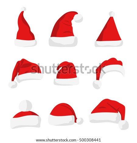 santa claus red hat silhouette. ...