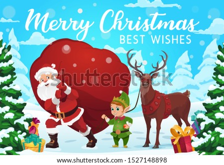 Santa Claus, reindeer and elf delivering Christmas gifts and presents, vector design. Santa carrying red bag with present boxes through snowy winter forest trees. Winter holidays greeting card