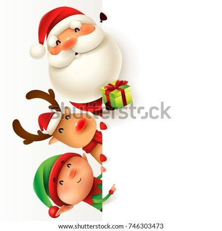 santa claus  reindeer and elf
