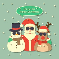 Santa Claus, reindeer and snowman wearing sunglasses with Merry Christmas speech bubble on snow background. vector.