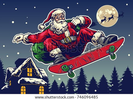 santa claus ride skateboard in...