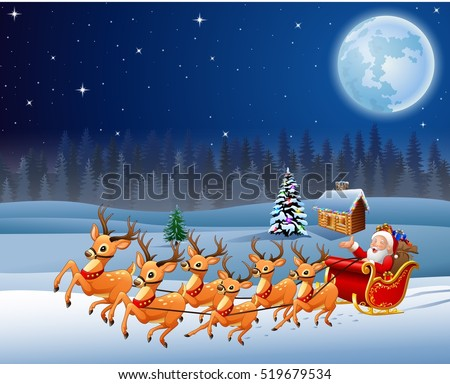 Santa Claus rides reindeer sleigh on Christmas night