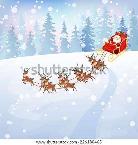 Santa Claus Rides Reindeer Sleigh. Winter Landscape ...